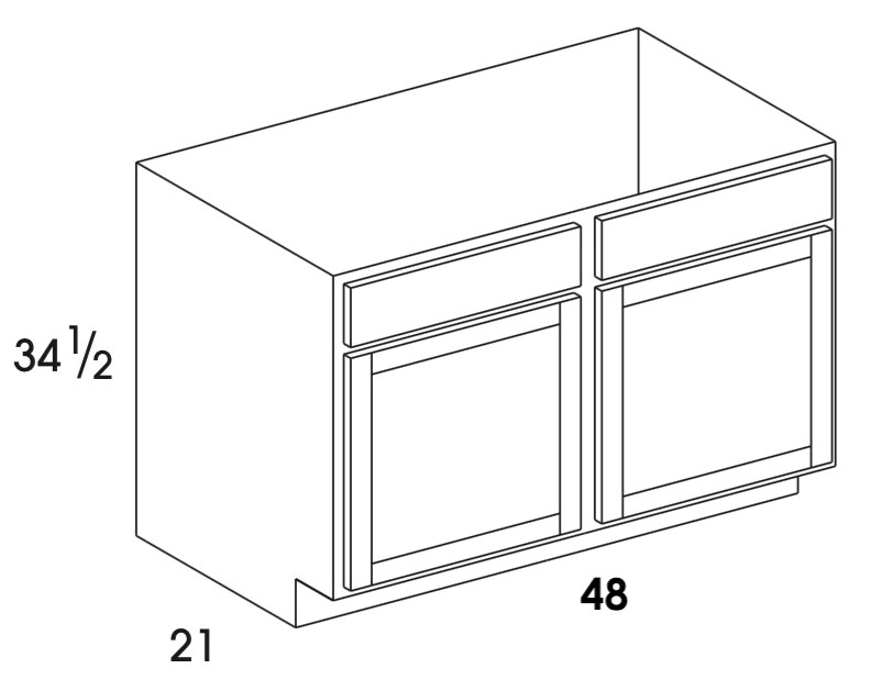 vsb48 dartmouth pewter vanity sink base double doors