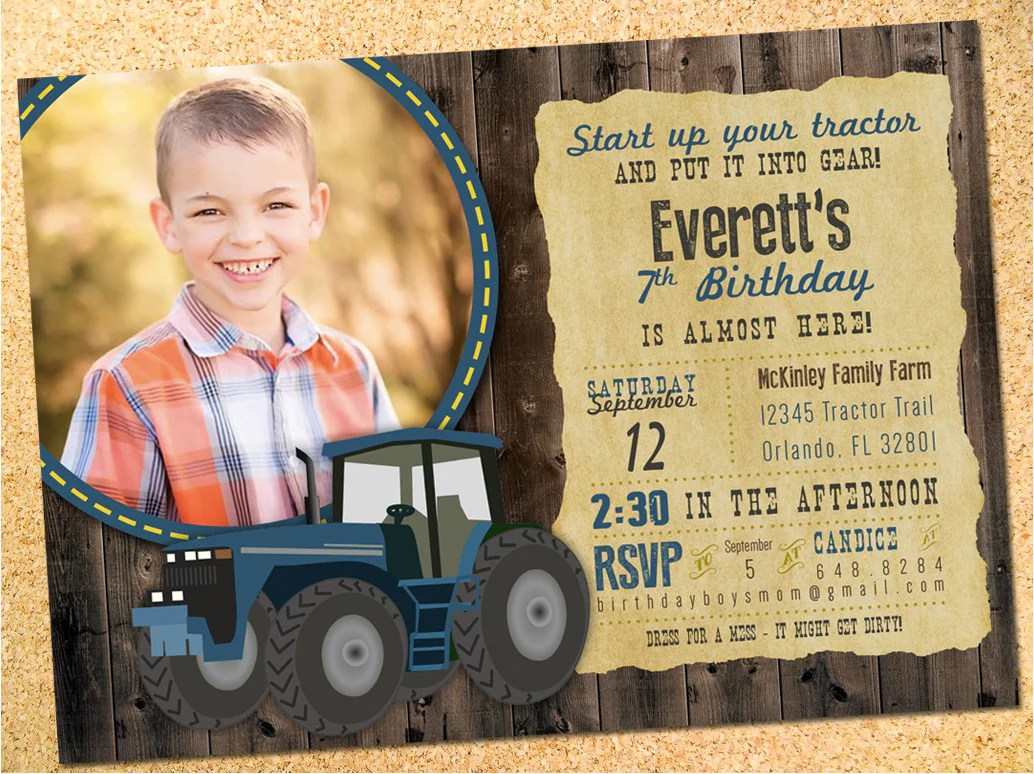tractor birthday party invitation choose your color customizable owen sally designs