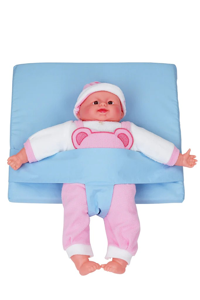comfeed by nina baby reflux wedge pillow with adjustable safety belt light blue