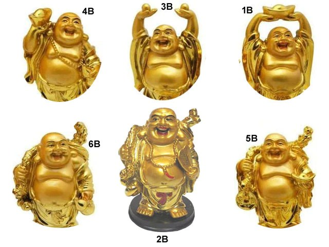 Golden Laughing Buddha Statue On Black Stand 4 H Pearl River Mart
