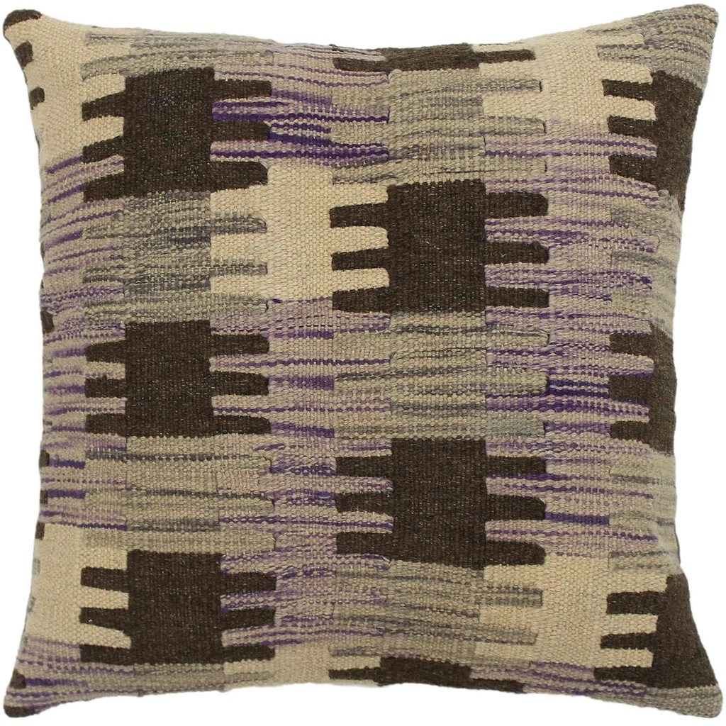 sam purple gray hand woven kilim throw pillow 1 6 x 1 6