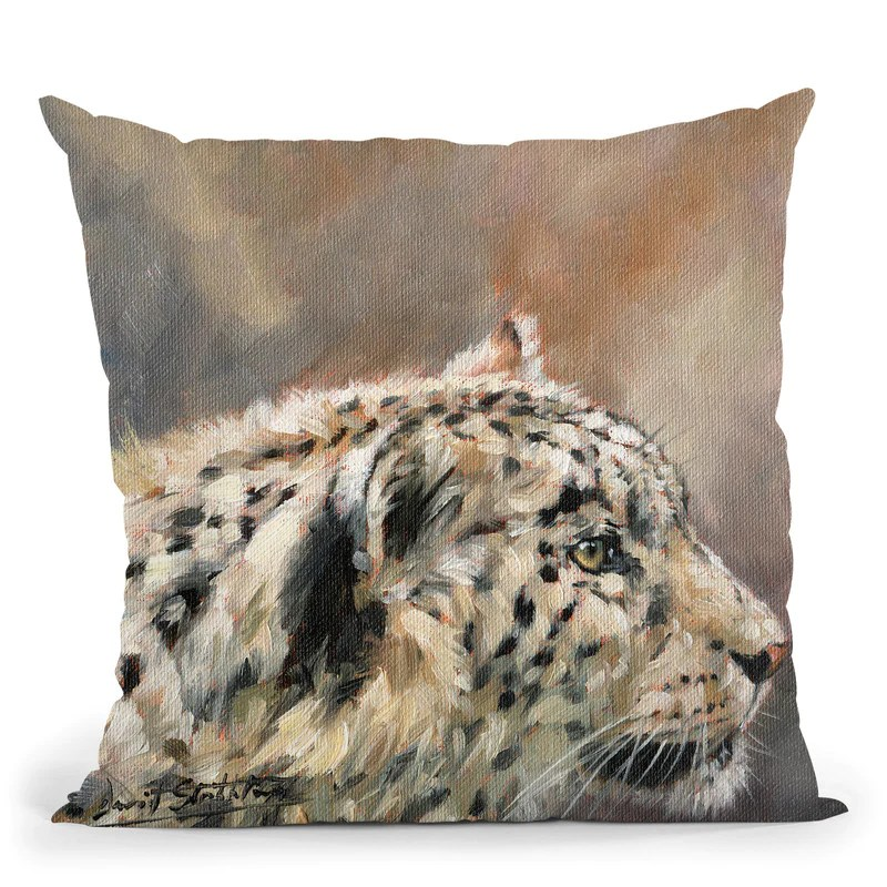 snow leopard v throw pillow by david stribbling all about vibe