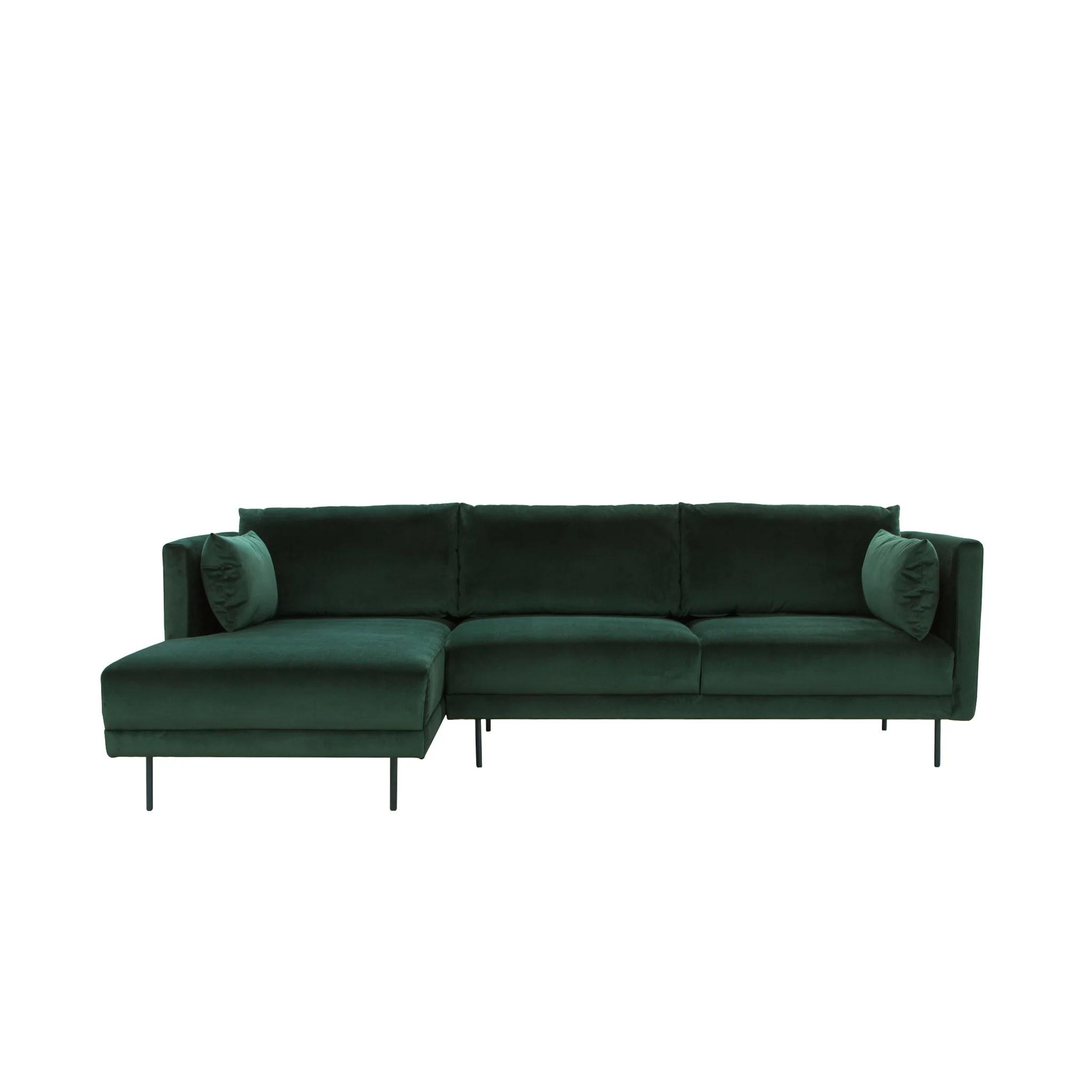 glasgow 3 seater chaise lounge left velvet green