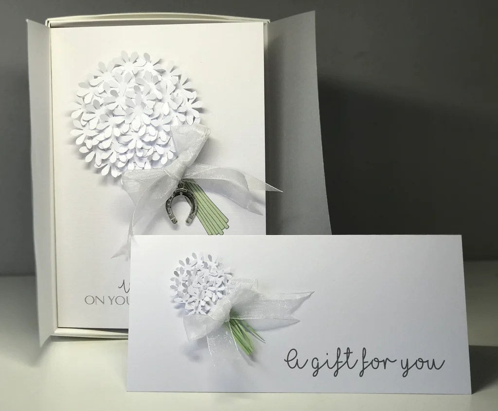 White Handmade Wedding Card, Boxed With Matching Money