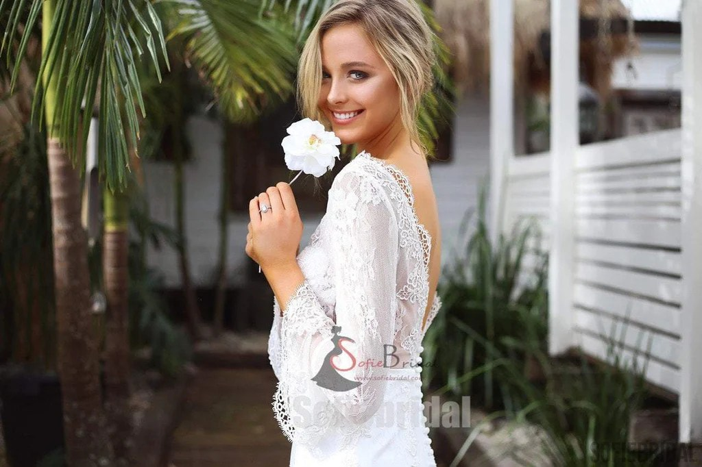 Long Sleeve See Through Lace Mermaid V-back Wedding