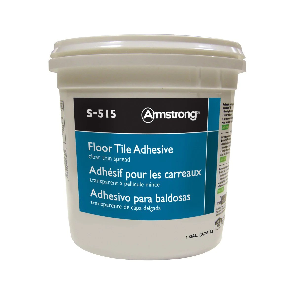 armstrong s 515 vct tile strong adhesive 1 gallon clear thin spread covers 300 sq ft per 1 gallon