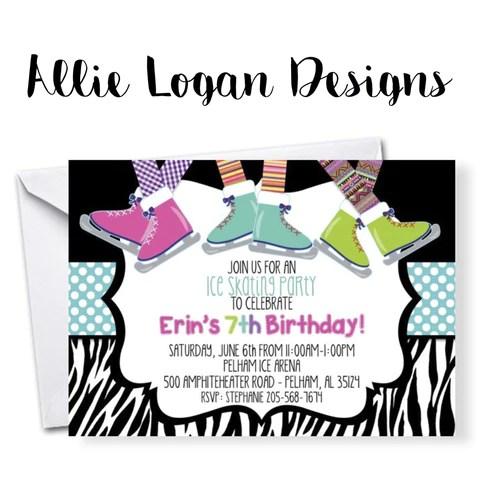ice skating birthday invitations