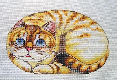 cat canvas yellow tiger stripes cat pillow or framed handpainted needlepoint canvas 13m lee