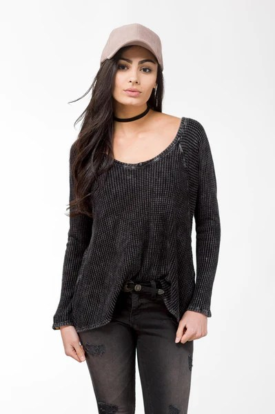 Long Sleeve Waffle Knit Top-FINAL SALE