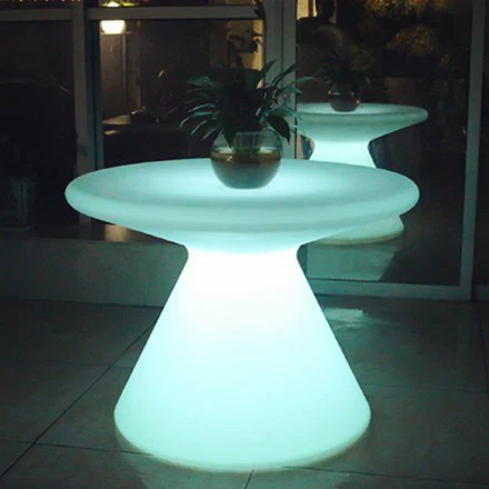one leg round plastic led coffee table