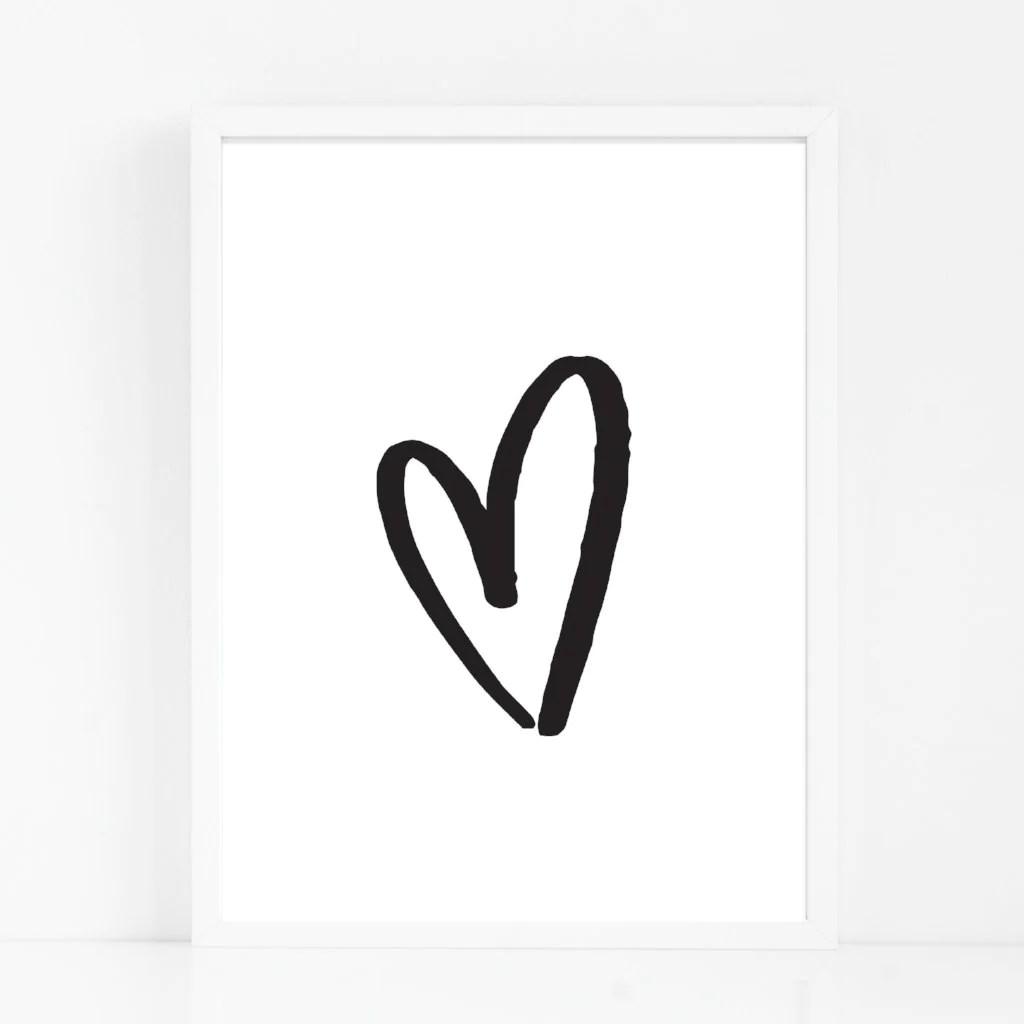 Hand Drawn Love Heart Print Rocks Design
