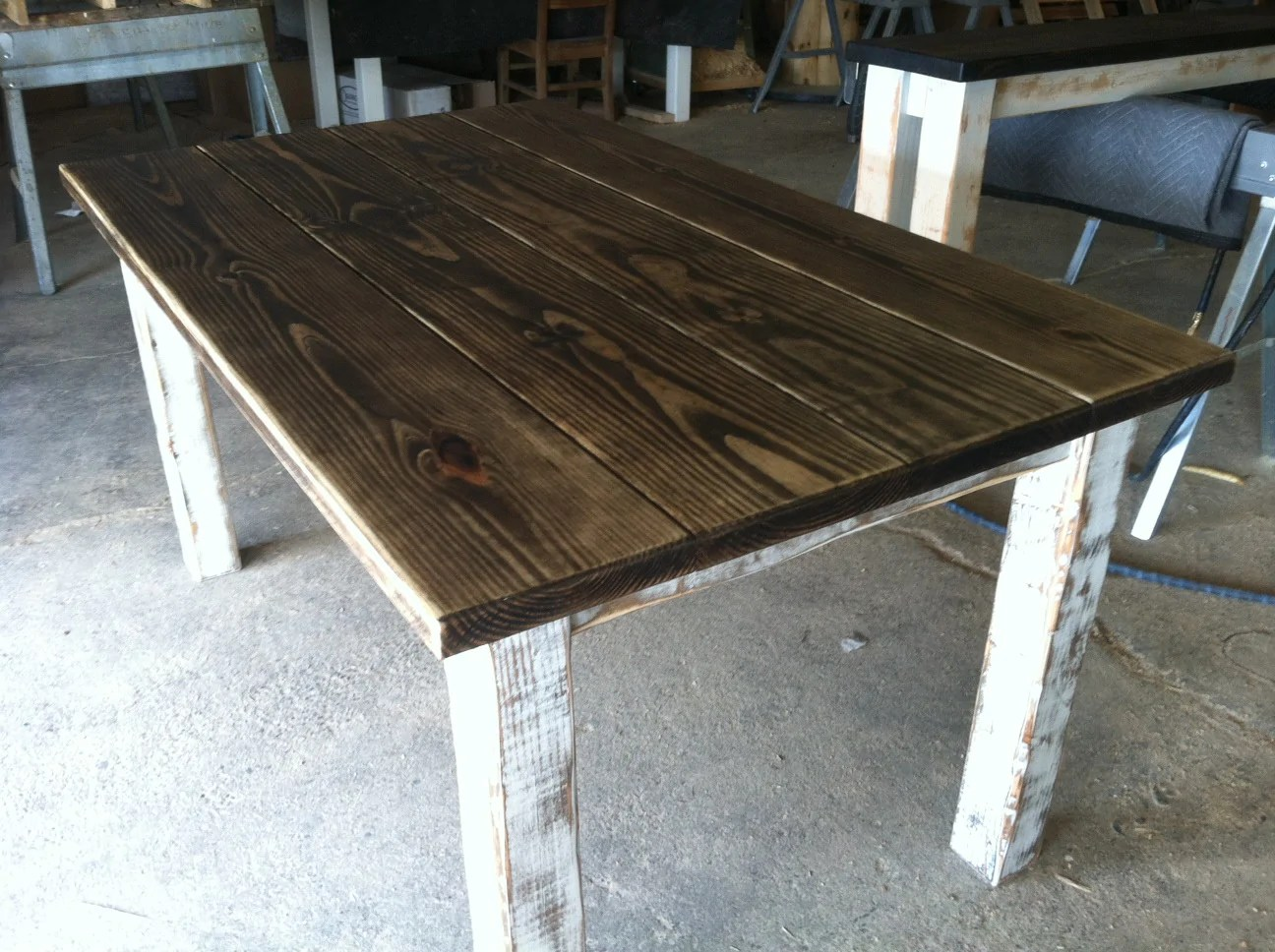 farmhouse plank table with painted distressed legs