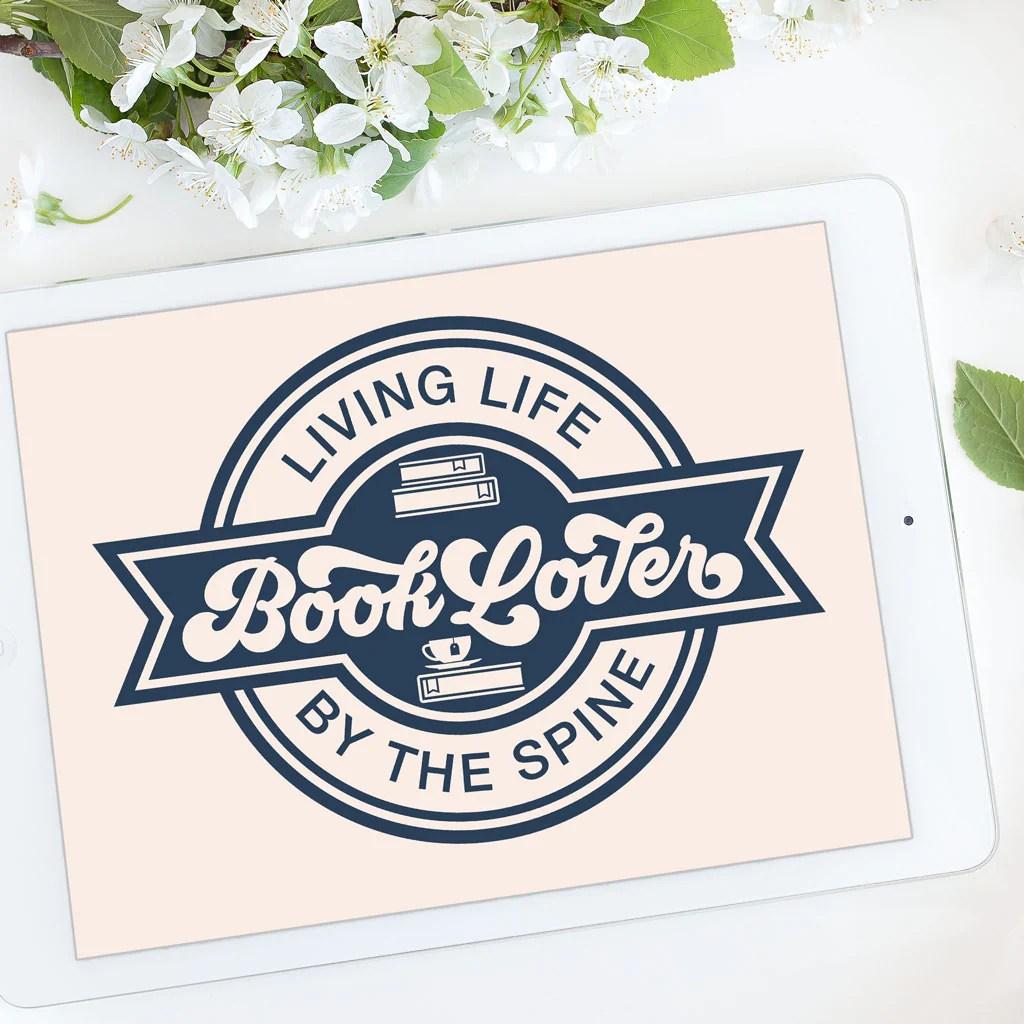 Download Free Book Lover Badge SVG Cut File | Kelly Lollar Designs