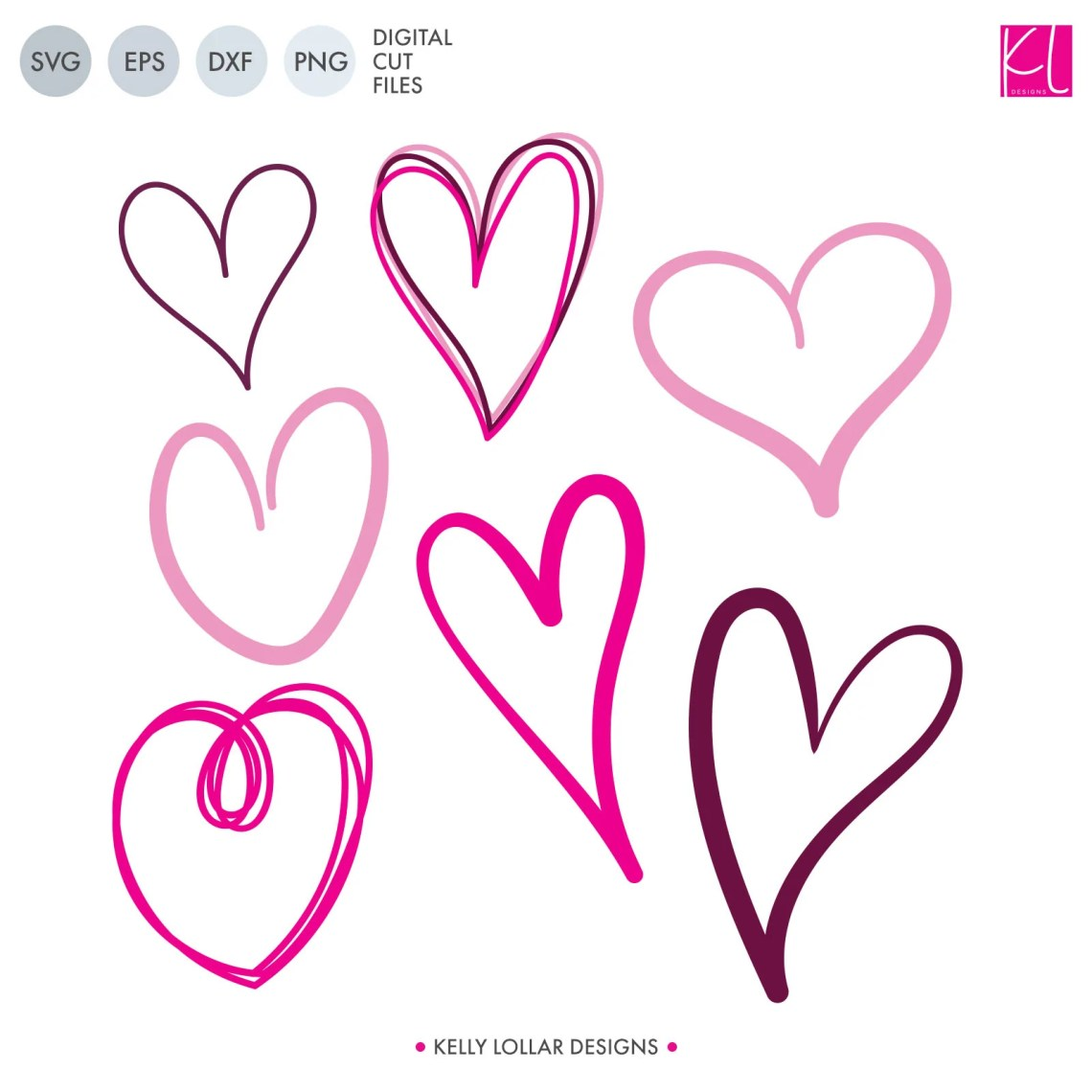 Download Free Doodle Hearts SVG Cut Files - Kelly Lollar Designs