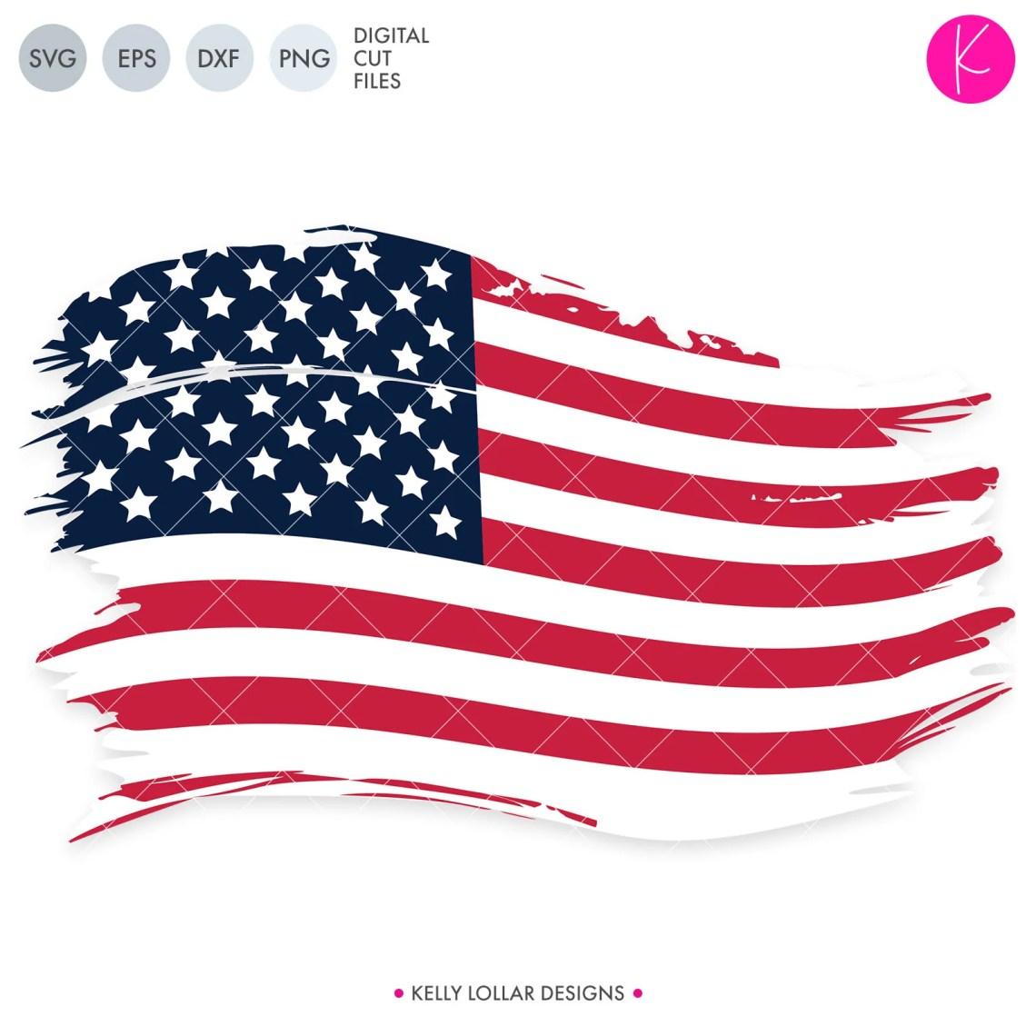 Download Distressed Blue Line American Flag SVG Cut File | Kelly ...