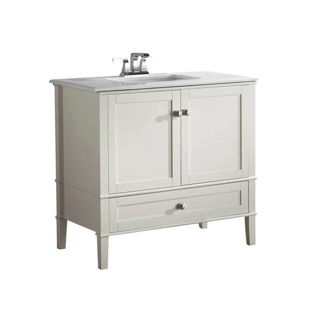 chelsea 36 inch bath vanity with white engineered quartz marble top