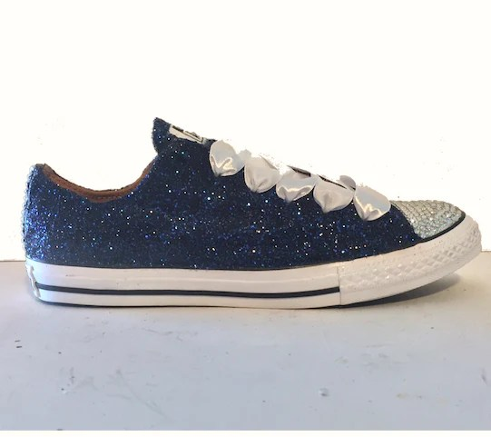 Navy Blue Glitter Converse All Stars shoes wedding bride ...