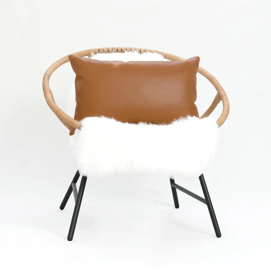 https www hofdeco com products faux leather lumbar pillow cover modern design camel