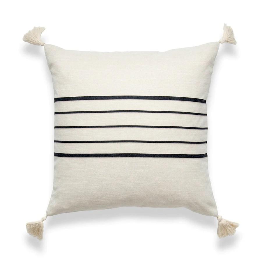 moroccan tassel neutral pillow cover geo stripes beige black 18 x18