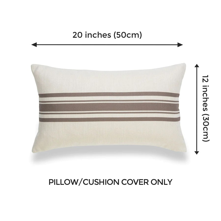 modern boho lumbar pillow covers brown stripe 12 x20