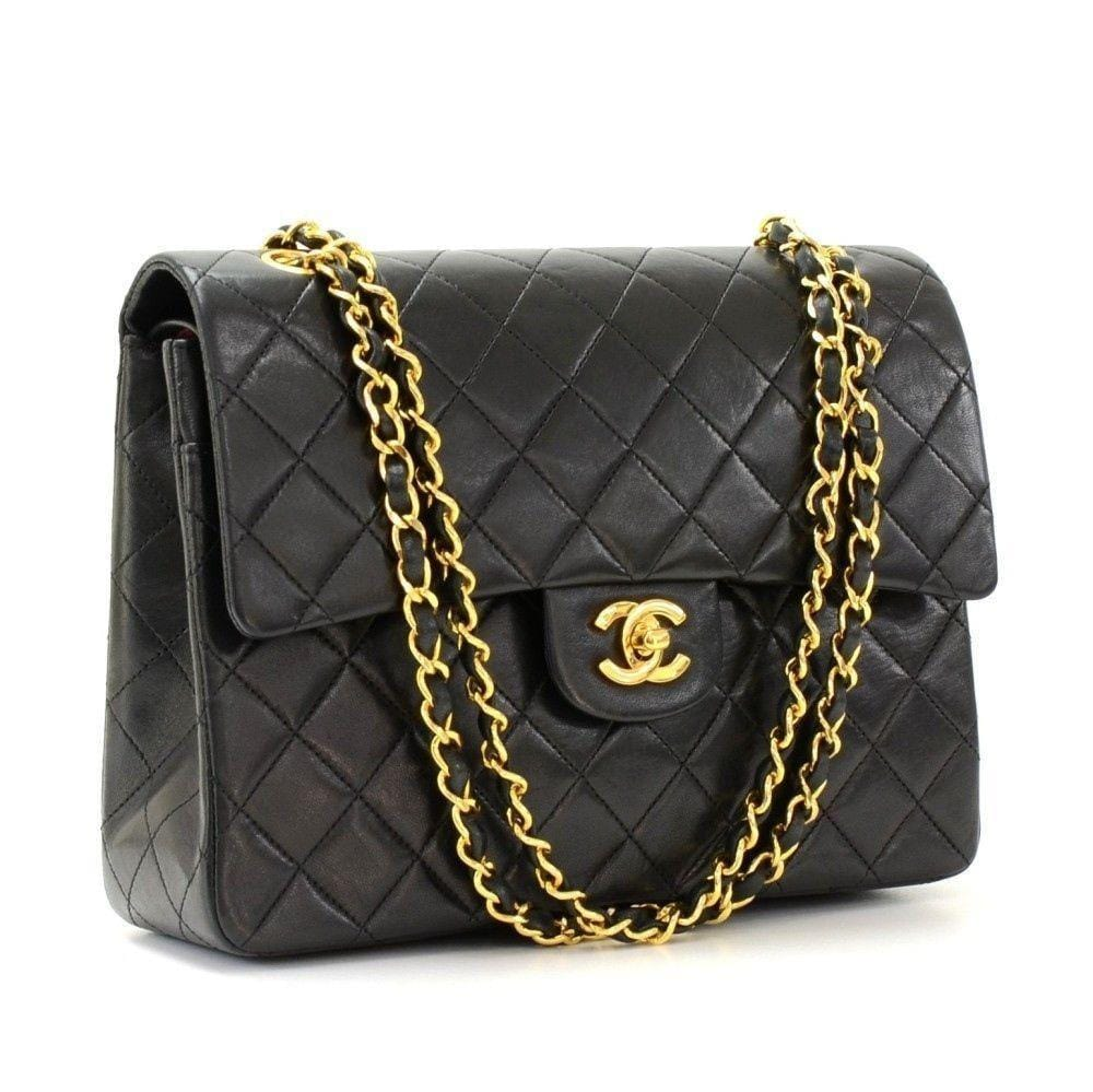 "CHANEL 2.55 10"" Tall Double Flap Black Quilted Leather ..."