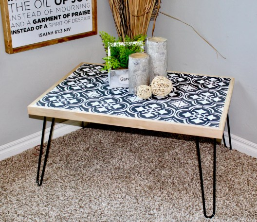 Hairpin Coffee Table 1 1024x1024 - DIY Hairpin Coffee Table with Stenciled Tile