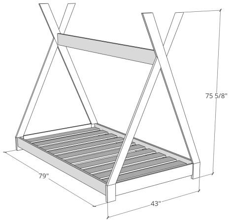 Kid Teepee Bed Dimensions 1024x1024 - DIY Kids Teepee Bed