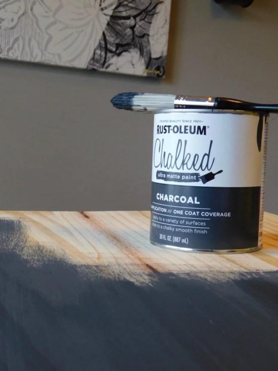 Rustoleum Chalk Paint Charcoal 1024x1024 - DIY Hairpin Coffee Table with Stenciled Tile