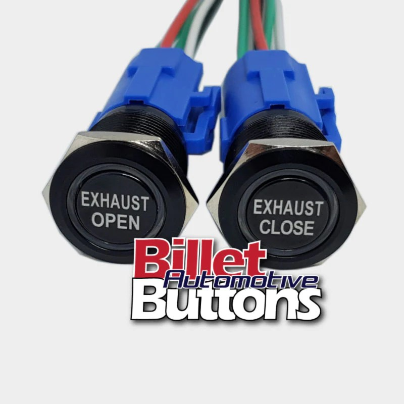 19mm pair exhaust open close billet push buttons switches electric cutouts