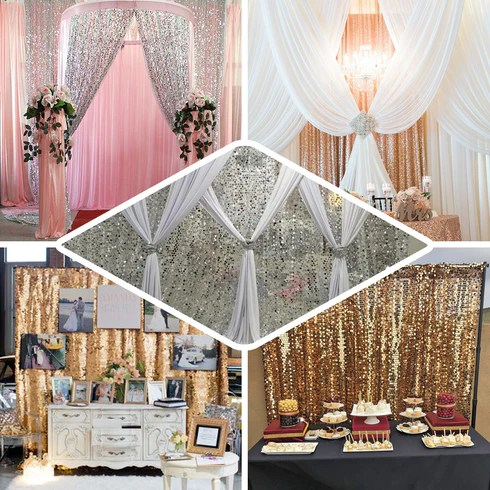 20ft x 10ft blush rose gold big payette sequin backdrop curtain