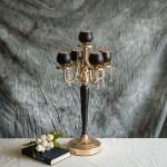 5 Arms 25 Matte Black Gold Metal Tealight Votive Candle Holder Centerpiece Candelabra Efavormart