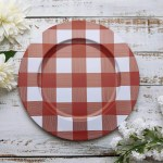 4 Pack 13 Red White Buffalo Plaid Metal Charger Plates Efavormart