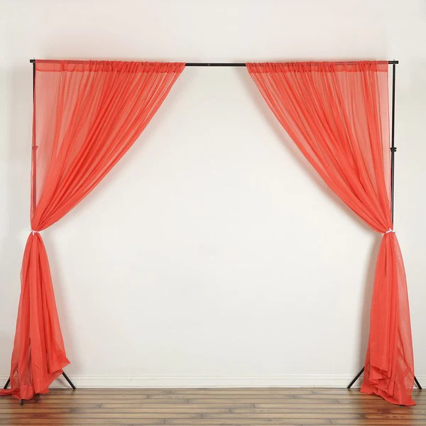 2 Pack 5FTx10FT Coral Fire Retardant Sheer Organza Premium Curtain Panel Backdrops With Rod