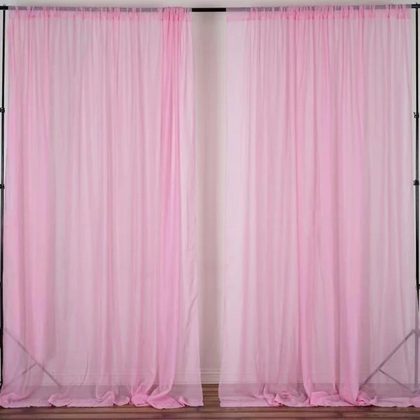 2 Pack 5FTx10FT Pink Fire Retardant Sheer Organza Premium Curtain Panel Backdrops With Rod