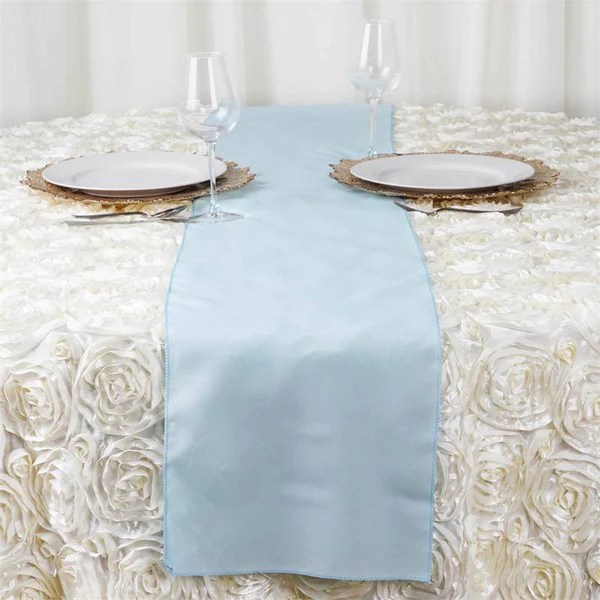 12x108 Light Blue Polyester Table Runner EFavorMart