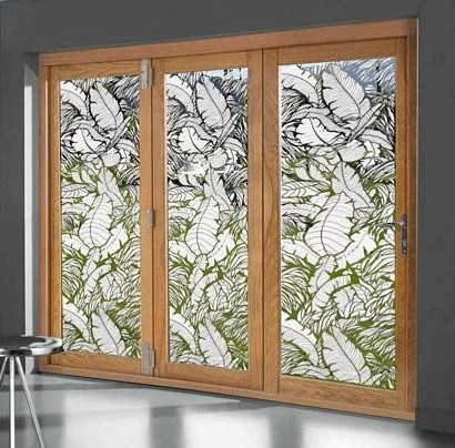 tropical leaves sliding glass door static cling 6 x 78 tropical
