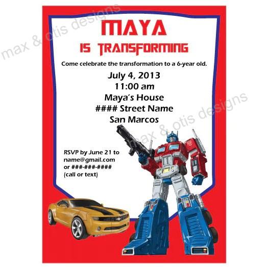 transformers birthday party invitation printable editable pdf