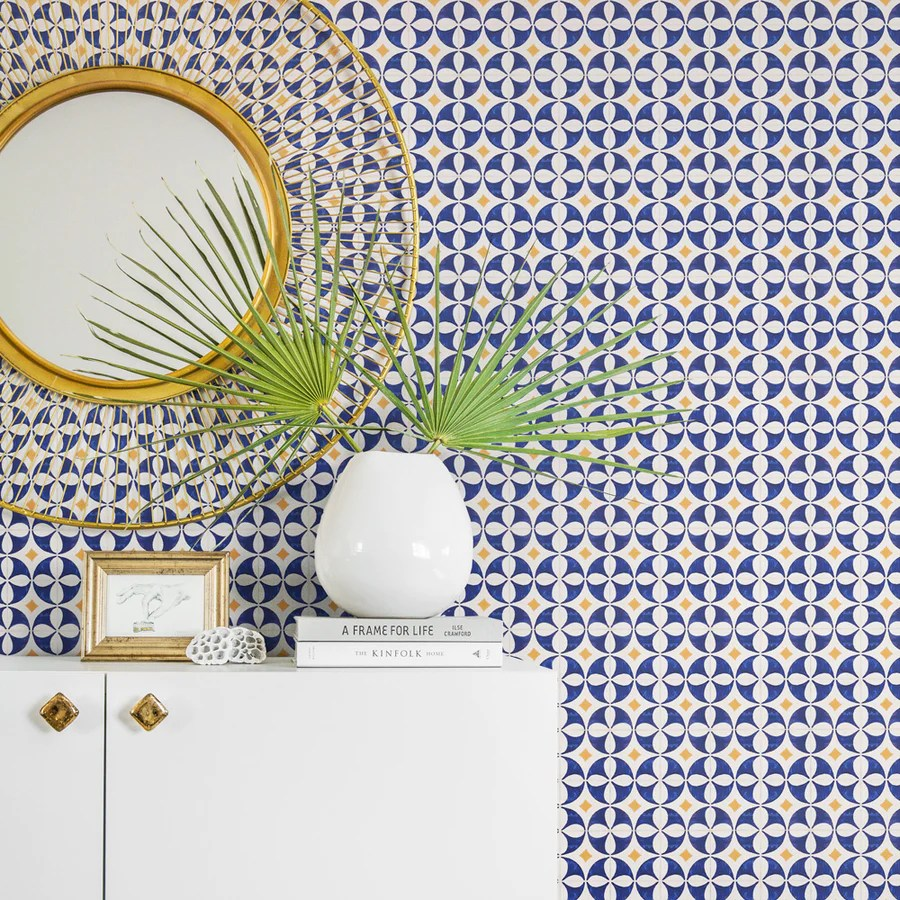 blue and yellow tile removable wallpaper