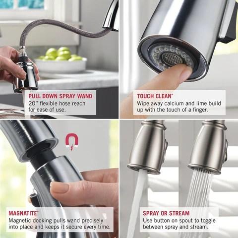 delta faucet leland single handle pull down kitchen faucet