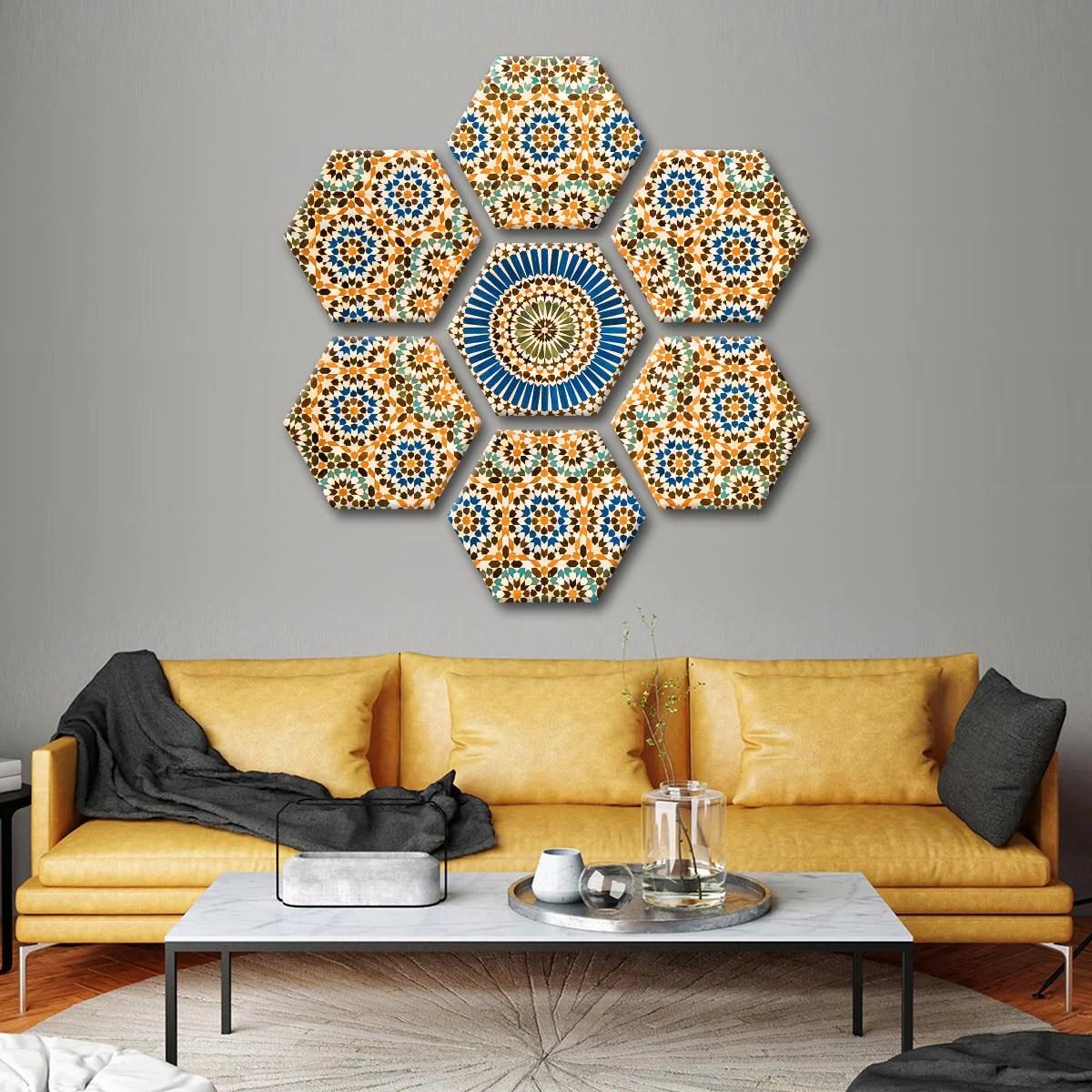 moroccan ceramic tile multi panel canvas wall art