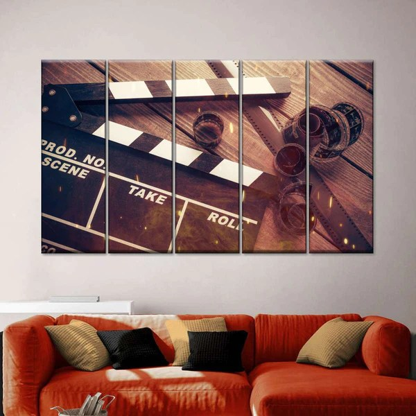 Movie In The Making Multi Panel Canvas Wall Art
