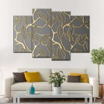 Gold Lattice Multi Panel Canvas Wall Art Elephantstock