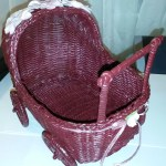 Baby Buggy Pram Wicker Small Burgundy Pink Baby Shower Table Decor