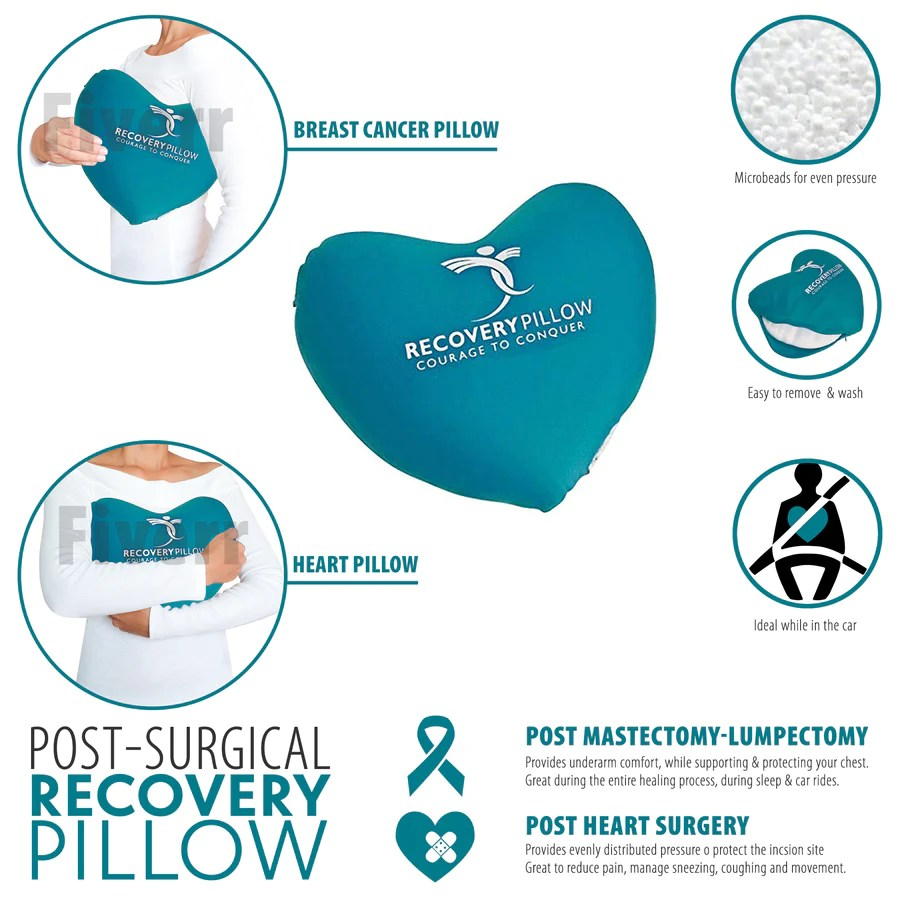 set of 2 mastectomy surgery recovery pillows for the axilla or underarm to relieve pressure breast surgery pillows