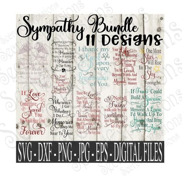 Sympathy SVG Bundle, Memorial Set Digital File, SVG, DXF ...
