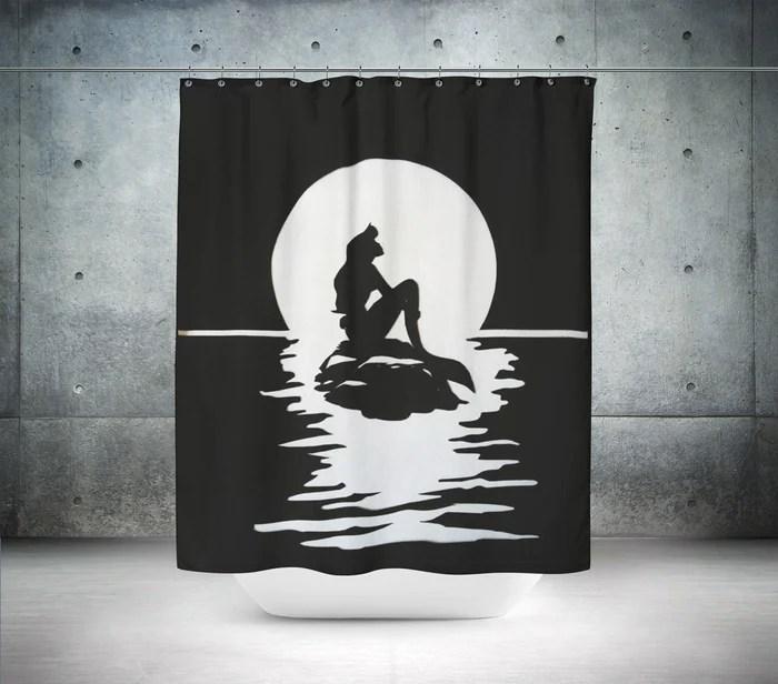 little mermaid silhouette shower curtain