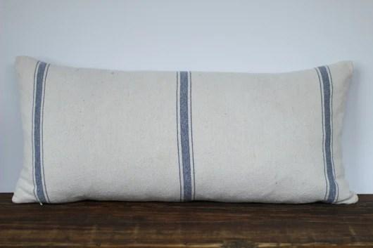 grain sack fabric lumbar pillow cover in blue or tan stripe