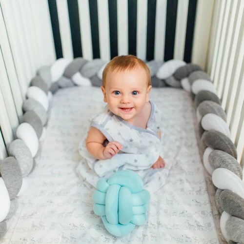 braided crib bumper bed bolster