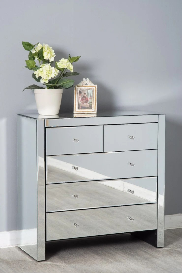 mirrored glass 3 piece drawer bedroom