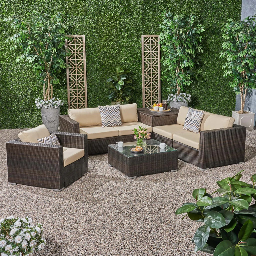 outdoor 5 seater wicker sectional sofa set with storage ottoman and su noble house furniture
